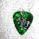 DK EMERALD GREEN CELLULOID GUITAR PICK JOCKEY RACE HORSE CHARM PENDANT NECKLACE