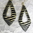 NEW BIG EXOTIC SAFARI PRINT BLACK & NATURAL WOOD ZEBRA STRIPES DANGLING EARRINGS