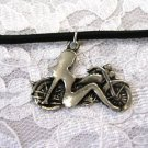 HOTTIE MOTORCYCLE with THE CHROME GIRL PEWTER PENDANT ADJ NECKLACE