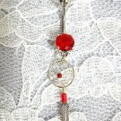 STERLING SILVER & RED NATIVE WEB DREAMCATCHER w FEATHER ON RED CZ NAVEL BAR BELLY RING