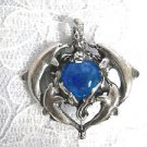 X LARGE 4 DOLPHIN PLAYING AROUND AN OCEAN BLUE BALL PEWTER PENDANT ADJ NECKLACE