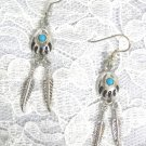 NEW DREAM CATCHER BEAR CLAW BEAR PAW TRIBAL SPIRIT ANIMAL w 2 FEATHERS & BLUE GEM DANGLING EARRINGS