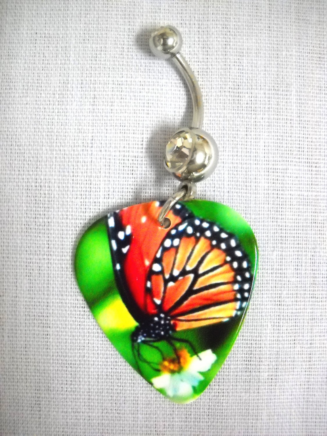 BRIGHT MONARCH BUTTERFLY PHOTO GUITAR PICK 14g CLEAR CZ BELLY RING BUTTERFLIES