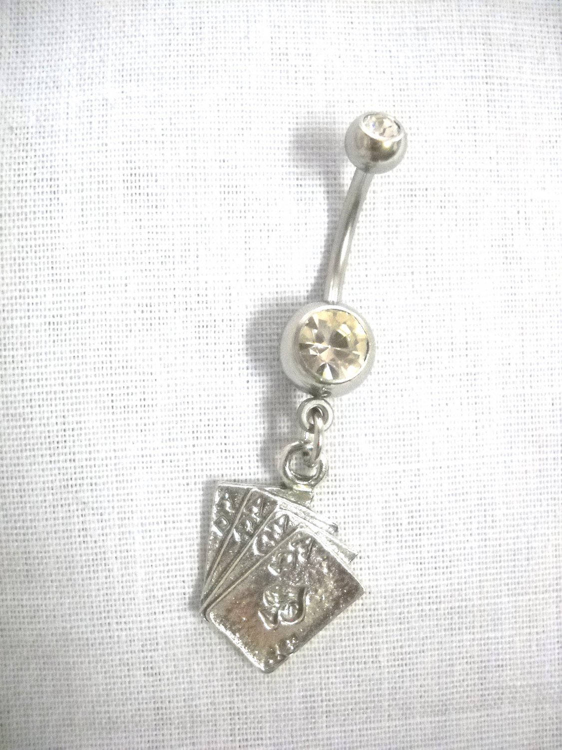 GAMBLER 4 OF A KIND ACES HIGH CARD HAND VEGAS CHARM CZ NAVEL RING BARBELL