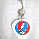 GRATEFUL DEAD SKULL STEAL YOUR FACE RED BLUE WHITE PRINTED GUITAR PICK BELLY RING