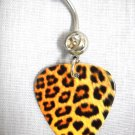 REALISTIC LEOPARD FUR BIG CAT SAFARI PRINT GUITAR PICK w CLEAR CZ BELLY BAR NAVEL RING