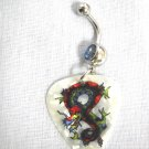 NEW COLOR TATTOO DRAGON PRINTED GUITAR PICK w BLUE CZ BELLY BUTTON RING