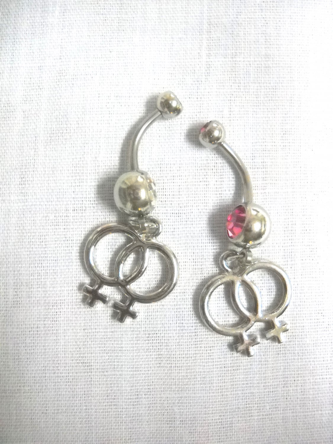 2 PIECE LESBIAN PRIDE / GIRL GIRL SYMBOL CHARMS ON CLEAR & PINK CZ 14g BELLY RINGS / BELLY BARS