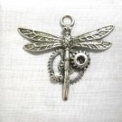 NEW STEAMPUNK DRAGONFLY with GEARS & COGGS PEWTER PENDANT ON ADJ CORD NECKLACE