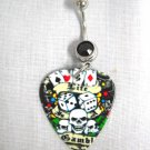 NEW LIFE GAMBLER w DICE & CARDS SKULLS VEGAS GUITAR PICK BLACK 14g CZ NAVEL RING