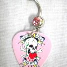 TRADITIONAL TATTOO BLEEDING HEART w SKULL LOVES DIES HARD BANNER GUITAR PICK 14g PINK CZ BELLY RING