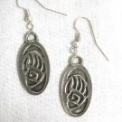 TRIBAL BEAR CLAW PAW OVAL NATIVE SPIRIT PEWTER PENDANT SIZE PAIR OF EARRINGS