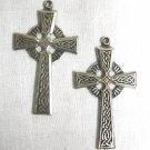 CLASSIC CELTIC SCROLL INFINITY KNOT CROSS PAIR OF DANGLING FULL PENDANT SIZE EARRINGS METAL JEWELRY