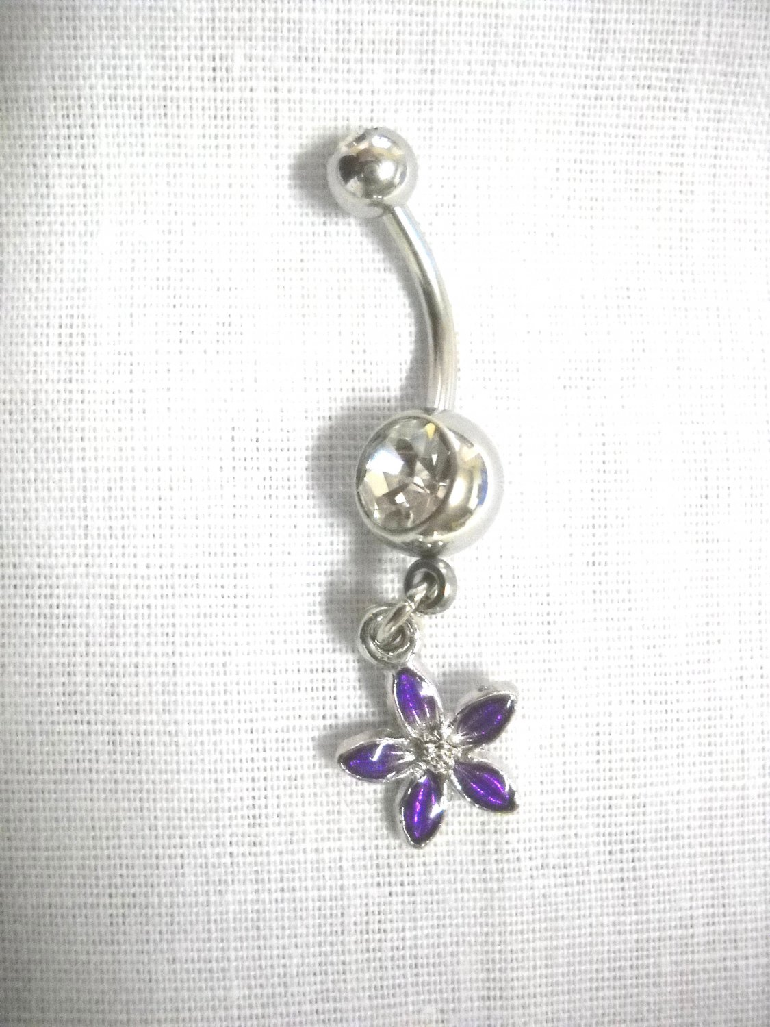 CLEARANCE SMALL PURPLE PETAL FLOWER CHARM CLEAR CZ 14G BELLY RING