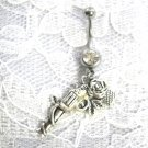 TOP SHOT REVOLVER GUN PISTOL w ROSE FLOWER VINE LADY SHOOTER ON CLR CZ 14g BELLY RING BARBELL