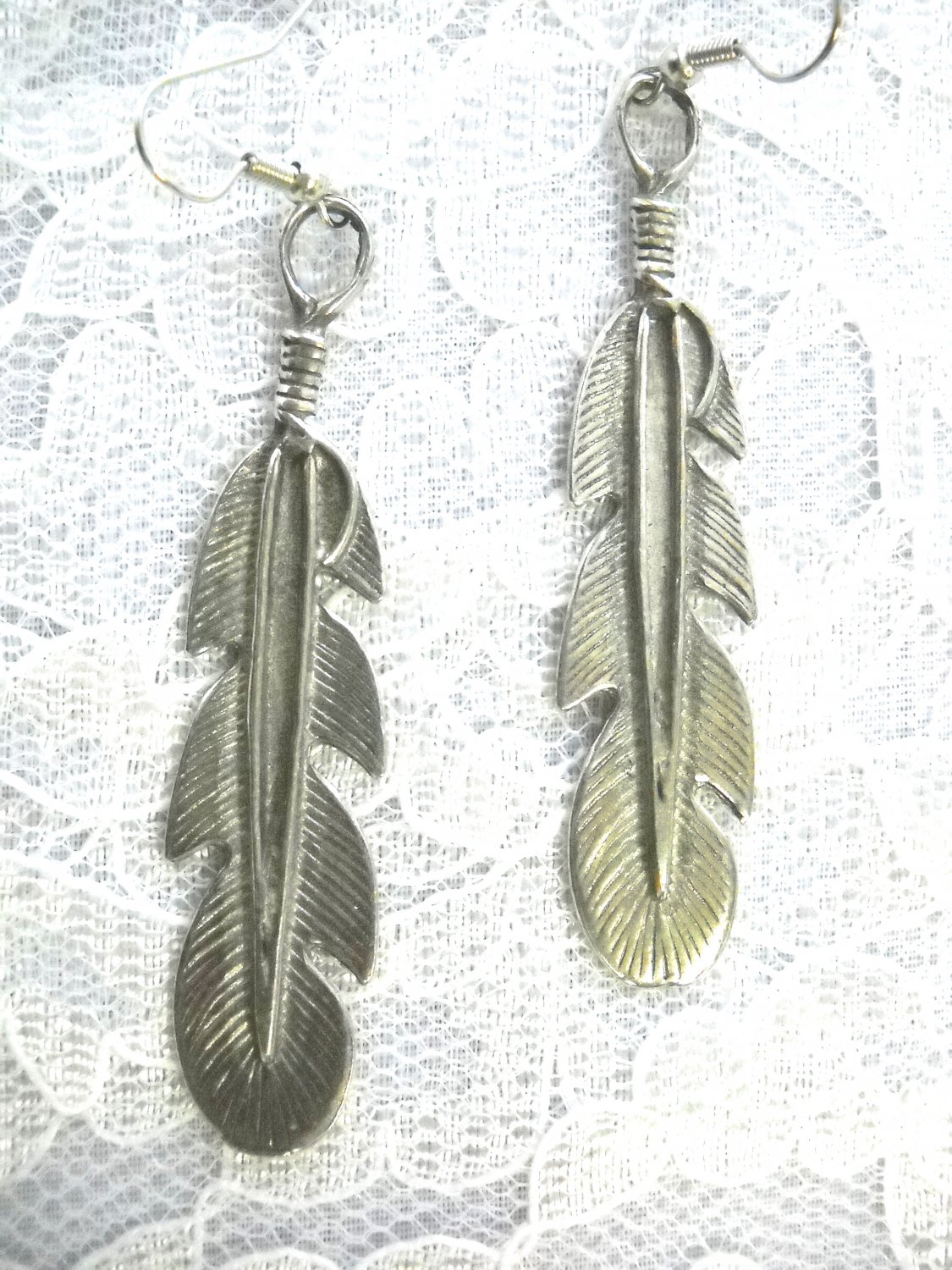 NATIVE STYLE XL EAGLE FEATHER USA PEWTER FULL PENDANT SZ EARRINGS