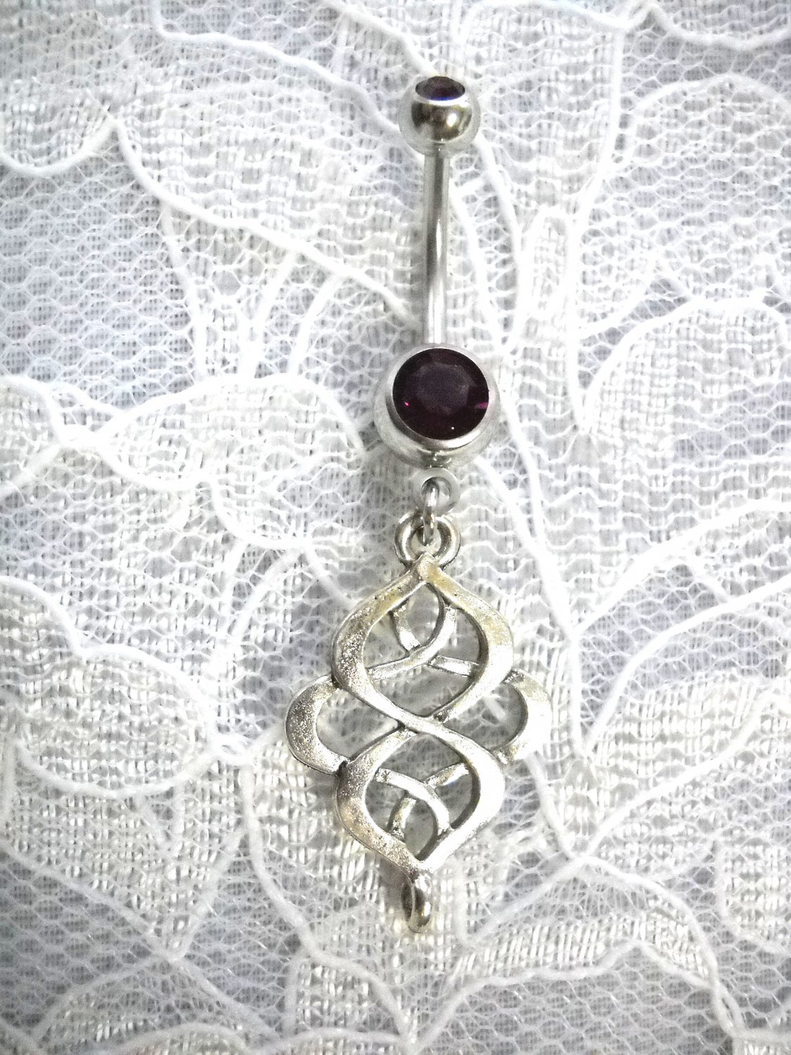 UNIQUE CELTIC KNOT INFINITY WEAVE ON DEEP PURPLE CZ 14G BELLY BUTTON RING