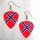 CONFEDERATE FLAG REBEL PRIDE SOUTHERN ROCKER GUITAR PICK DANGLING EARRINGS