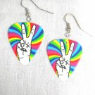 NEW PEACE SIGN HAND SYMBOL w WILD RAINBOW COLORS PRINTED GUITAR PICK EARRINGS