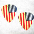 OLD GLORY USA PRIDE AMERICAN FLAG 2 SIDED AGED LOOK REAL GUITAR PICK EARRINGS