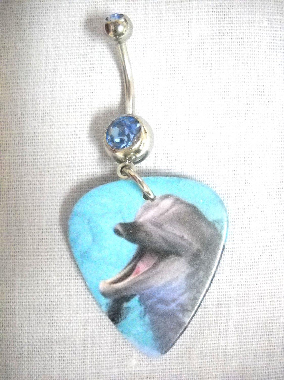 VIVID DOLPHIN BLUE WATER PHOTO PRINT GUITAR PICK BLUE CZ 14G BELLY NAVEL RING