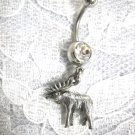 3D BULL MOOSE FULL RACK CHARM w CLEAR CZ BELLY BUTTON RING ANIMALS ALASKA
