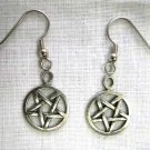 OCCULT PEWTER EVIL SATANIC 5 POINT PENTAGRAM STAR CHARMS METAL EARRINGS