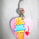 PINK & BLUE w RED CHERRY ICE CREAM CONE GUITAR PICK 14g DBL PINK CZ BELLY RING