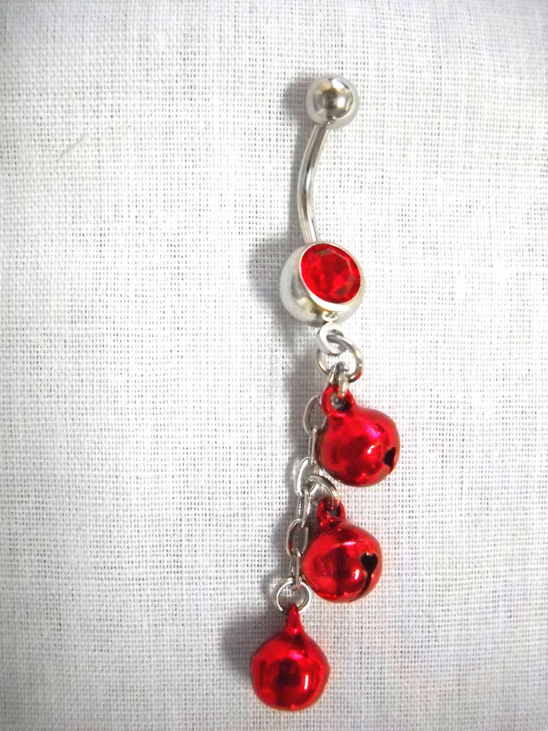 BOLLYWOOD DANCE RED DANGLING JINGLE BELLS CHAIN ON 14g RED CZ NAVEL RING