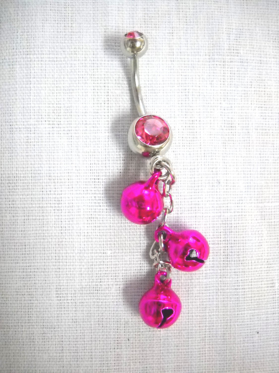 NEW BOLLYWOOD DANCE FUSCIA PINK DANGLING JINGLE BELLS ON HOT PINK 14g CZ BELLY RING