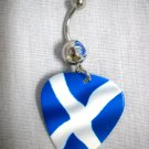NEW SCOTTISH FLAG SCOTLAND BLUE & WHITE GUITAR PICK on 14g BLUE CZ BELLY RING BAR