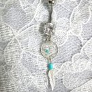 STERLING SILVER DREAM SPIRIT DREAMCATCHER & FEATHER CLEAR CZ 14g BELLY RING BAR
