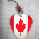 CANADIAN FLAG MAPLE LEAF RED & WHITE CANADA GUITAR PICK RED CZ 14g BELLY RING