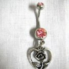 OPEN ROSE FLOWER INSIDE A HEART CHARM ON 14g PINK CZ BELLY RING NAVEL BAR
