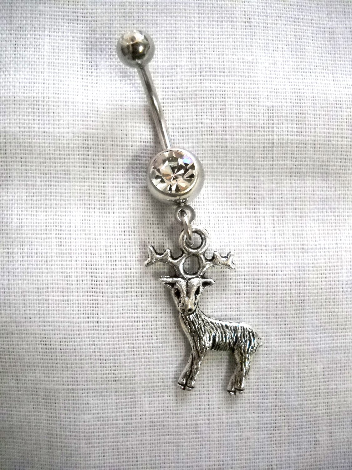 WILD COUNTRY WHITETAIL 8 POINT BUCK / DEER IN HEADLIGHTS ON 14g CLEAR CZ BELLY RING BARBELL