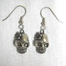 NEW SKULL w DAISY FLOWER DAY OF THE DEAD PEWTER CHARMS  DANGLING EARRINGS