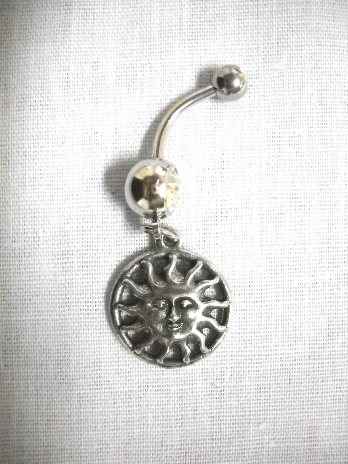 NEW CELESTIAL SUN SOLAR FLARE FLAMES PEWTER CHARM 14g CLEAR CZ BELLY RING