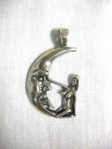 SEXY TEASER NAUGHTY GIRL ON MOON TEASE & PLEASE USA PEWTER PENDANT ADJ NECKLACE