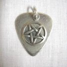 PEWTER GUITAR PICK & EVIL PENTAGRAM STAR CHARM DOUBLE PENDANT NECKLACE