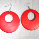 BIG SIZE LARGE TRUE RED STAIN WOOD ROUND EXOTIC DANGLING FLAT HOOP EARRINGS