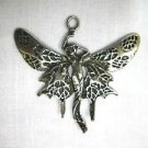 NEW LARGE BUTTERFLY WINGS FAIRY w FLOWING GOWN PEWTER PENDANT ADJ CORD NECKLACE