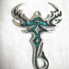 TRIBAL TATTOO DESIGN SCORPION TATTOO w TEAL BLUE INLAY PEWTER PENDANT ADJ NECKLACE