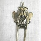 SABRETOOTH TIGER SKULL & FANG TEETH JAW CAST PEWTER PENDANT ADJ CORD NECKLACE