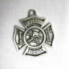 NEW FIRE FIGHTER SHIELD HOOK & LADDER HYDRANT CAST PEWTER PENDANT ADJ CORD NECKLACE
