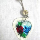 WICKED SINISTER SKULL w OPEN RED ROSE COLOR PRINTED GUITAR PICK 14g CLEAR CZ BELLY RING