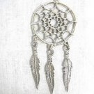 NEW NATIVE WEB SPIRIT DREAM CATCHER w 3 DANGLING FEATHERS USA PEWTER PENDANT NECKLACE