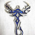 TRIBAL DESIGN SCORPION TATTOO INK LOOK COBALT BLUE INLAY PEWTER PENDANT ADJ NECKLACE