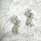 3D COMICAL MOOSE DANGLING PEWTER CHARM HOOK WIRE EARRINGS ALASKA COLORADO MAINE WILDLIFE
