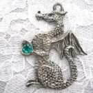 VINTAGE LARGE DETAILED DRAGON w EMERALD GREEN CRYSTAL PEWTER PENDANT NECKLACE