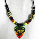 REGGAE SPLASH MUSICAL GUITAR PICK with RASTA COLOR CERAMIC BEADS ADJ NECKLACE